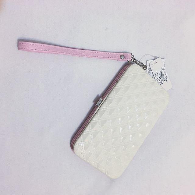 i5 i5s 多功能粉紅手機包 附掛繩