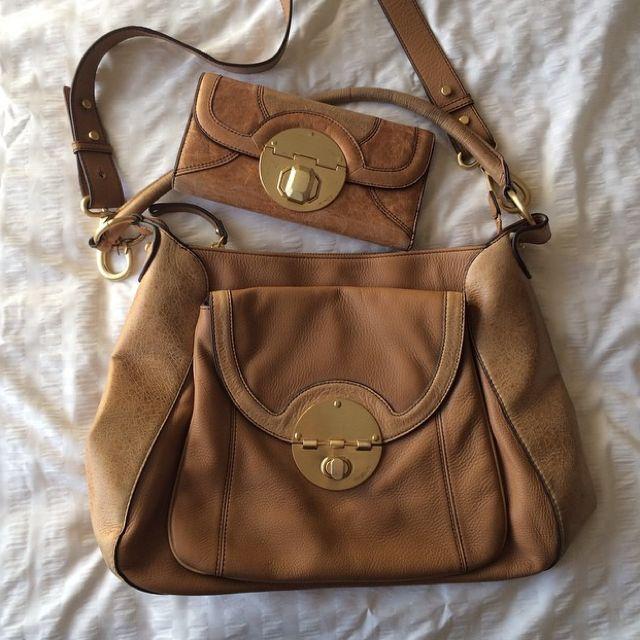 Mimco Tan Turnlock Tote Bag + Wallet