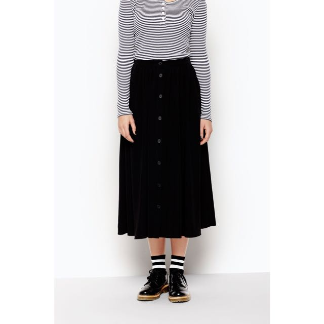 Monki 黑色排扣長裙 有口袋