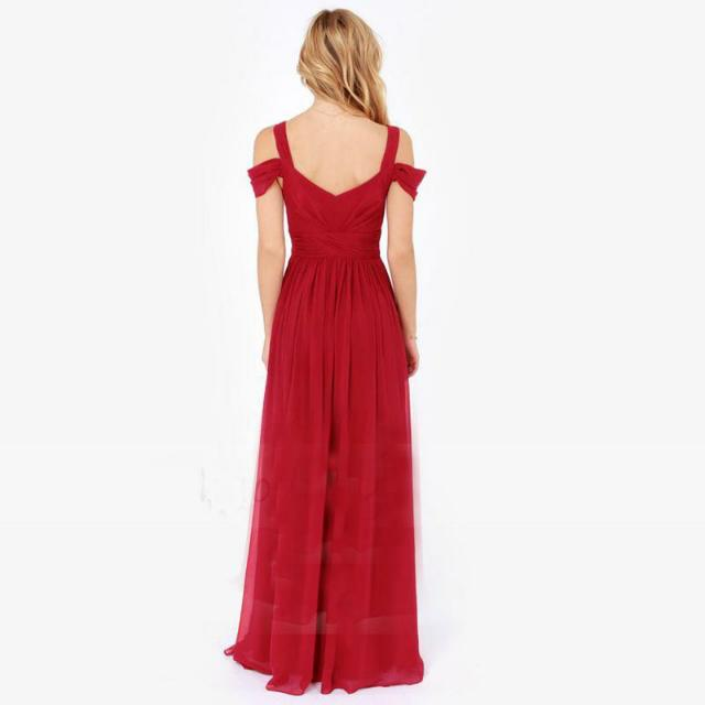 Red V Cut Chiffon Long Slit Dress (Size S,M,L,XL)