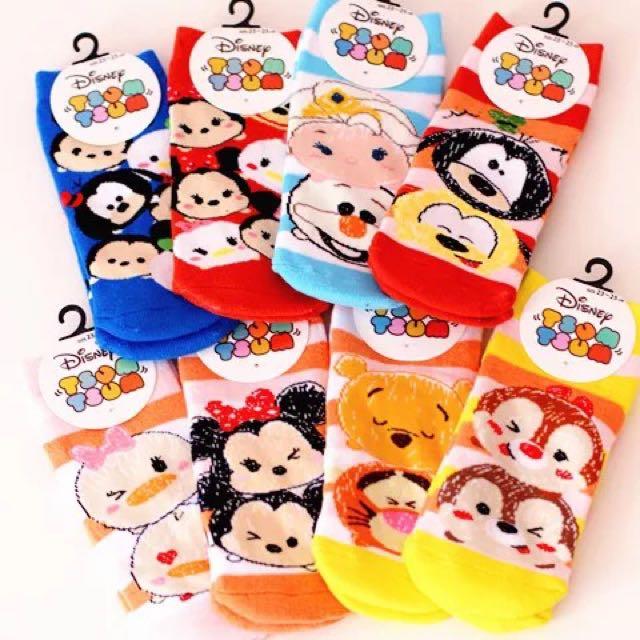 日本TsumTsum迪士尼可愛加厚短襪