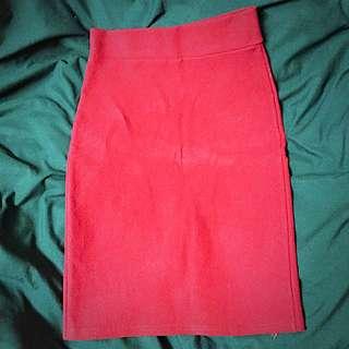 (全新轉賣)正紅厚質彈性包臀裙