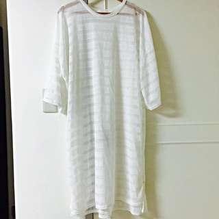 (全新轉售)長版透膚罩衫,購入590只售350