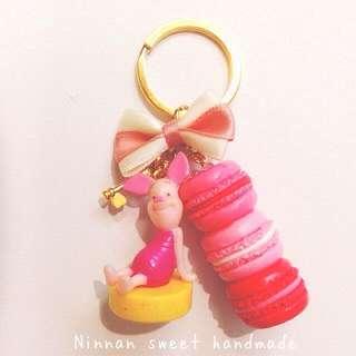 維尼系列小豬馬卡龍鑰匙圈