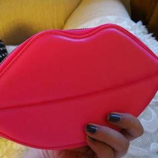 H&M 螢光桃紅性感紅唇 手拿包 鑰匙包 零錢包 手機袋
