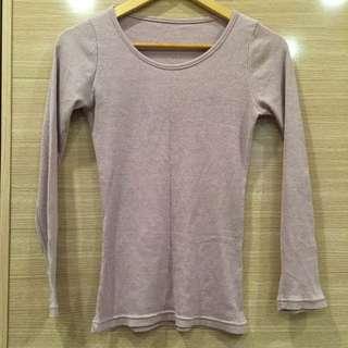 🔹二手🔸淡紫羅紋內搭素色上衣 台灣製MIT