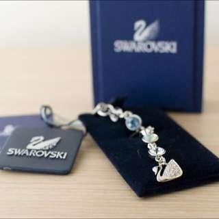 SWAROVSKI 施華洛世奇藍色水鑽logo吊飾