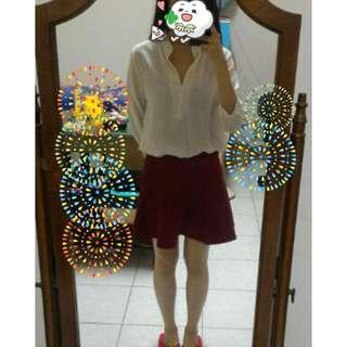✨全新✨酒紅高腰短裙