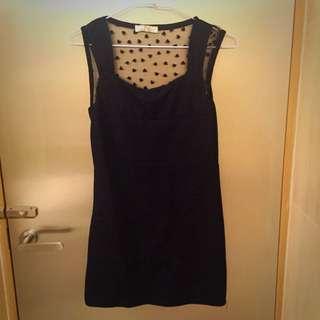 黑色後背網紗短洋裝