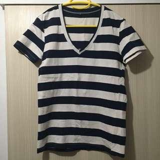 (二手)深藍白橫條紋V領短袖上衣/S