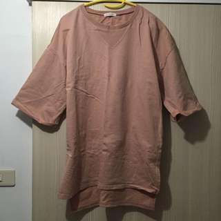 (二手)STARKIKI購入 七分袖領口倒三角造型前短後長長版上衣