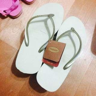 havaianas 淺金色高根夾腳拖鞋 全新正品 36號