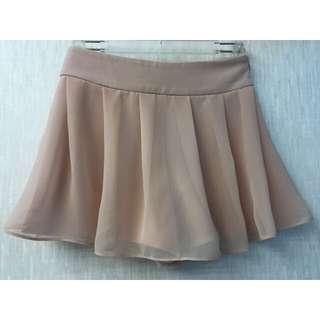 正韓 雪紡粉紅短褲裙