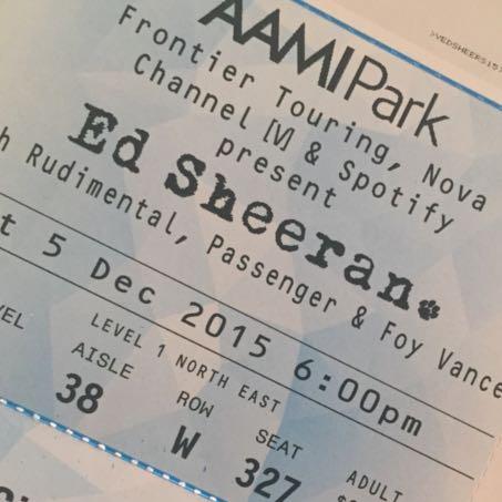 3x Ed Sheeran tickets! Sat 5th Dec