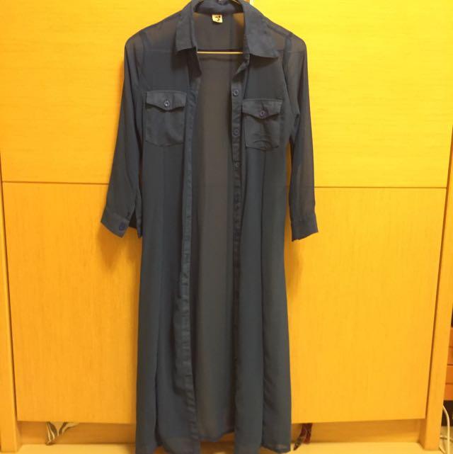 『📢📢含運』雪紡紗超長版襯-寶藍色