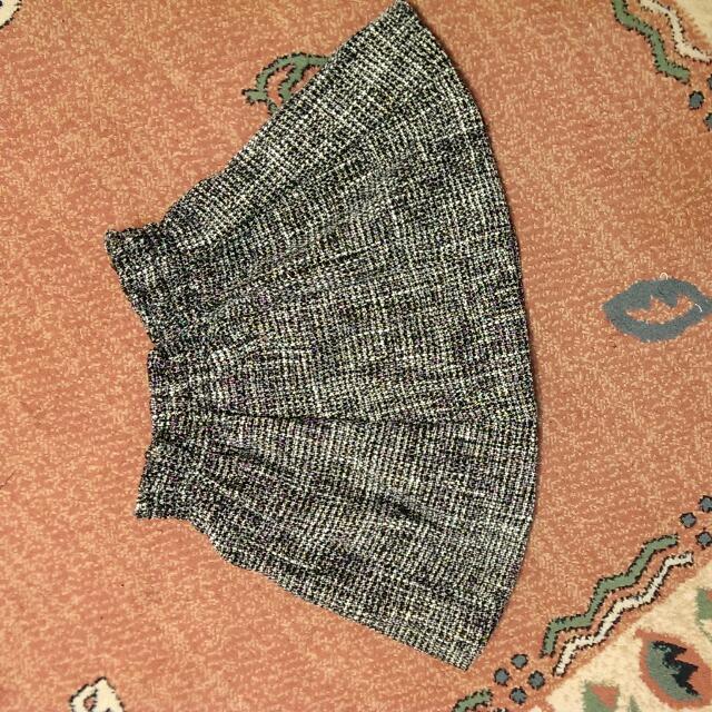 毛料黑白格百搭短裙