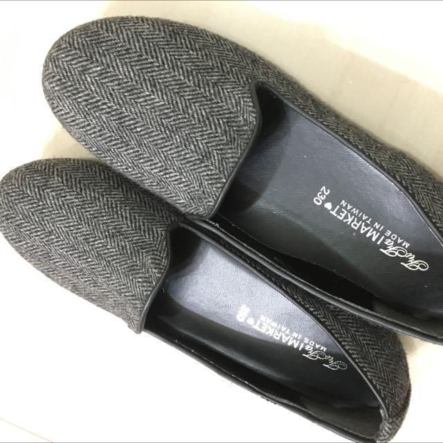 毛呢樂福鞋