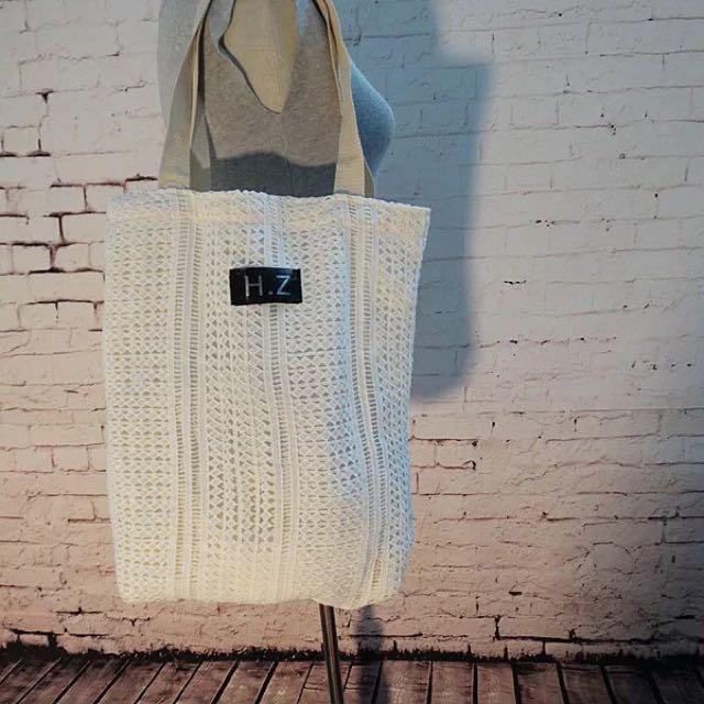 蕾絲簍空肩背包購物袋
