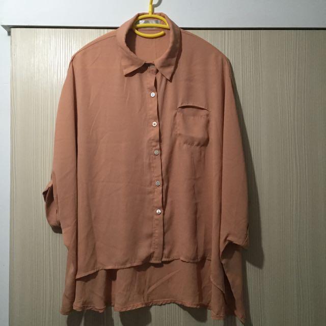 (二手)單口袋飛鼠袖雪紡襯衫