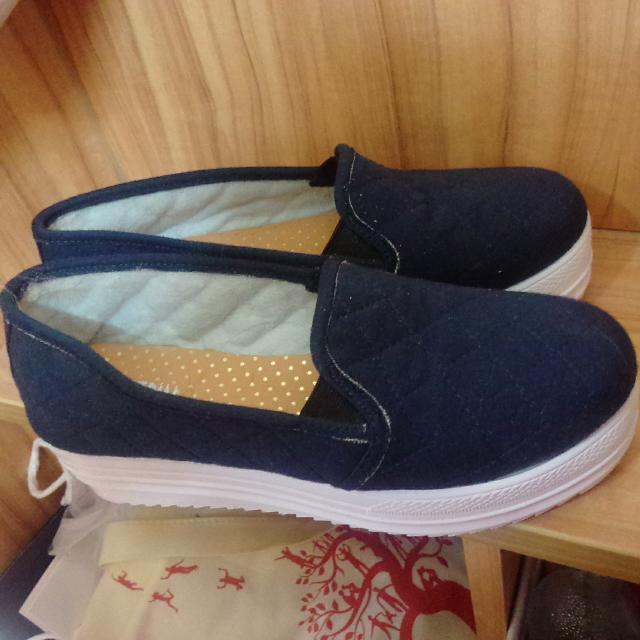 深藍菱格紋厚底鞋 39號