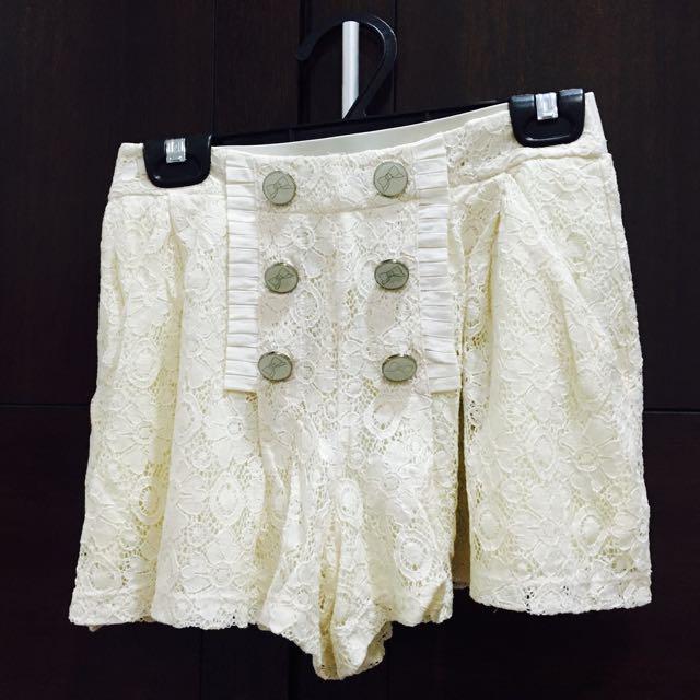 二手 米白蕾絲褲裙