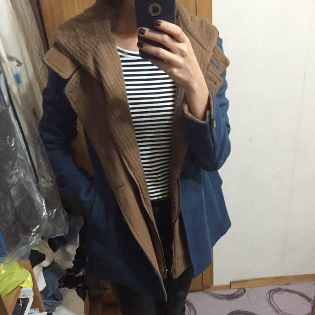 韓 假兩件式大衣