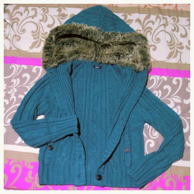 超大毛帽 毛領 麻花針織外套 藍綠色