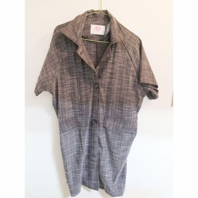 全新/灰色交叉紋短袖大衣外套 立領 排釦 學院風
