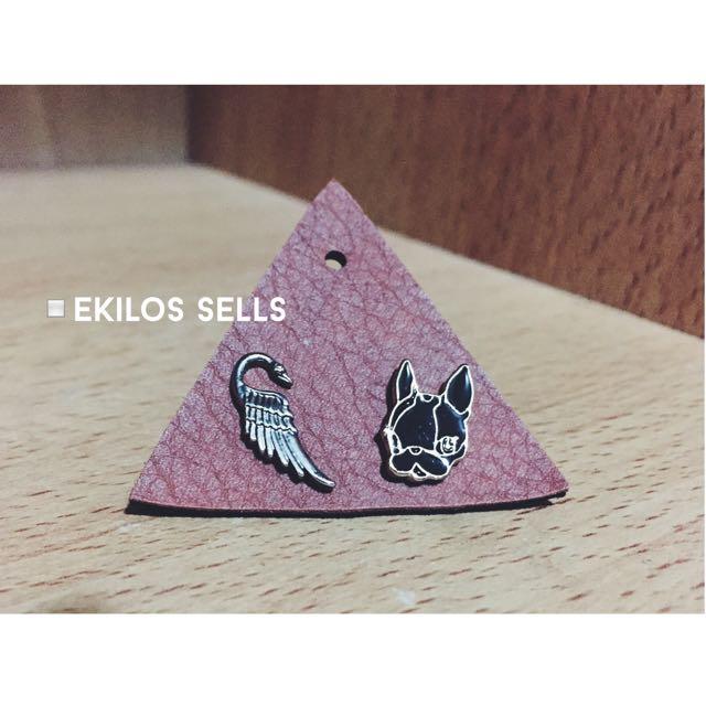 crystal ball 法鬥 天鵝 翅膀 耳環(可拆賣)