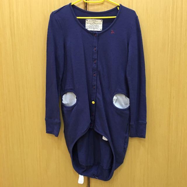 (保留)二手a la sha 長版上衣深藍色棉質s號