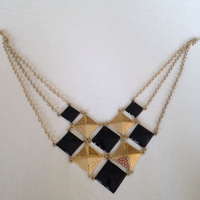Black Gold Shield Diamond Necklace