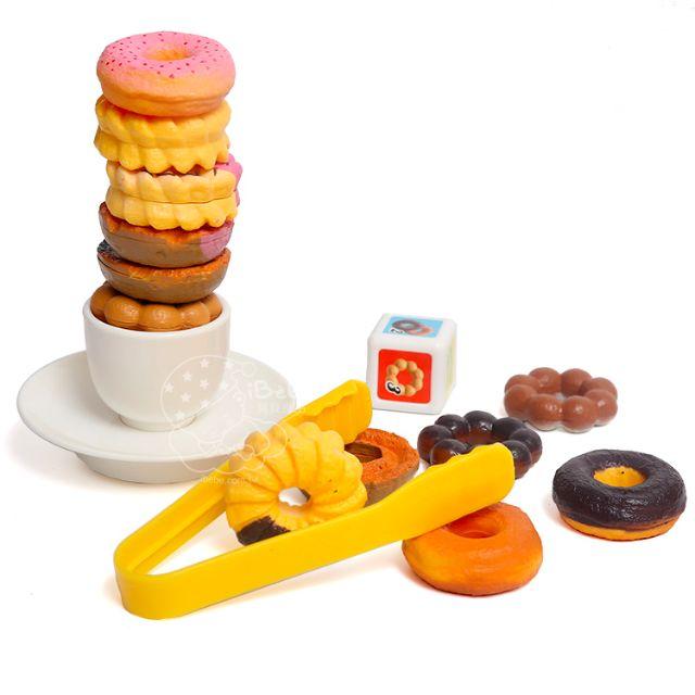 iBebe*現貨$159 mister donut 波提/歐菲香/法蘭奇/多拿滋 趣味甜甜圈疊疊樂下午茶遊戲組 扮家家酒