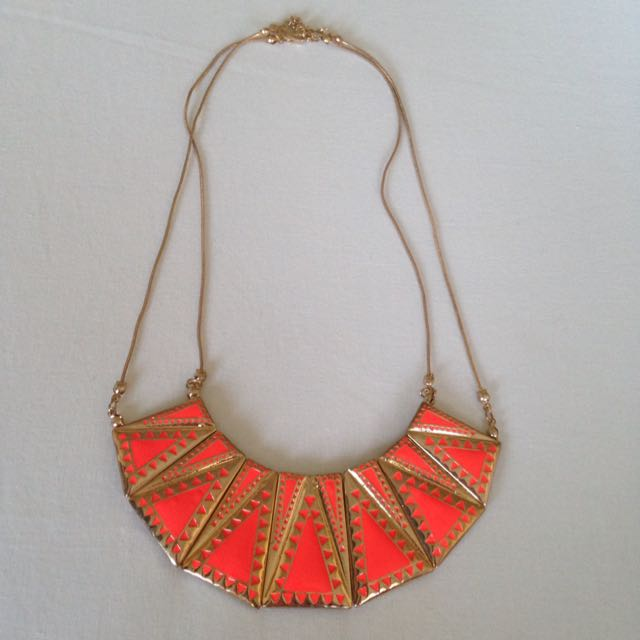 Orange Aztec Geo Shield Short Necklace