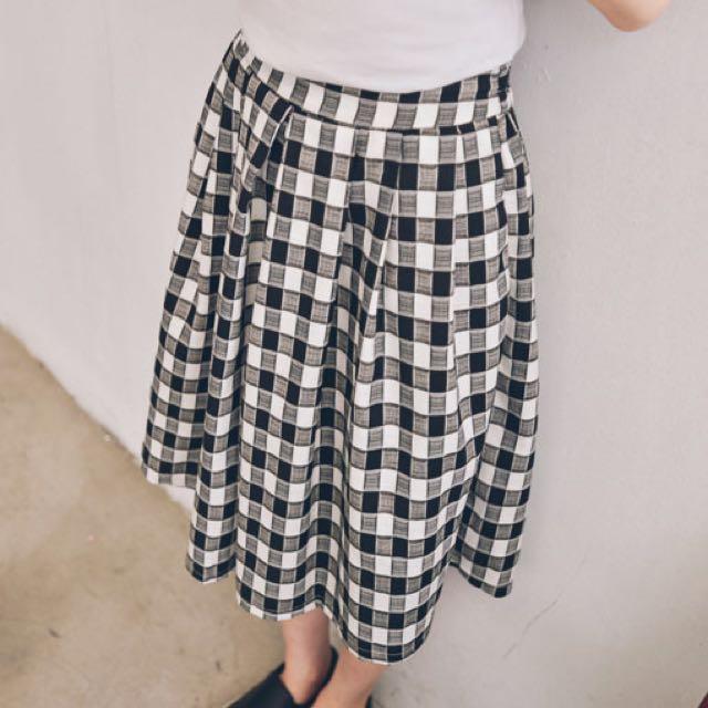 Queen shop 格紋打摺寬褲裙 M