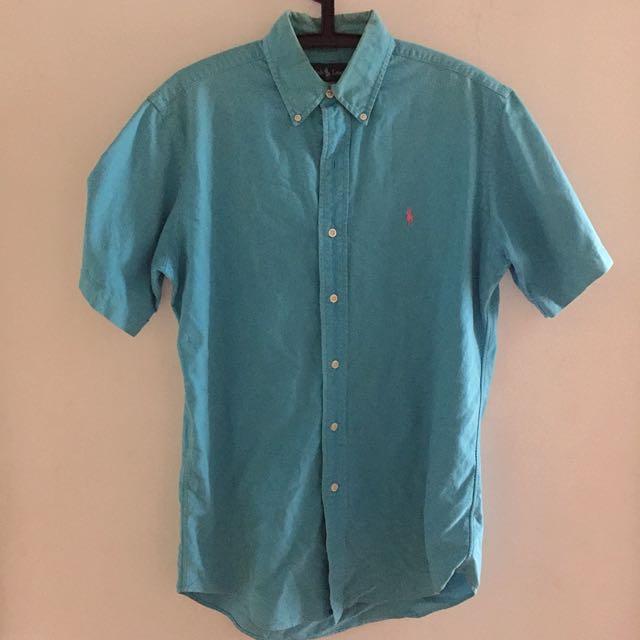 『限時特價』Polo Ralph Lauren 水藍色基本款短袖襯衫