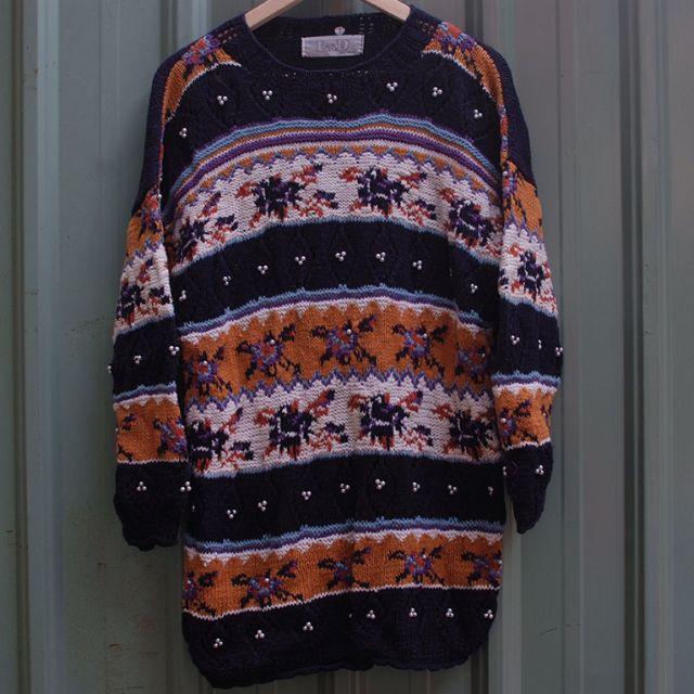 vintage 北歐粗針織漁夫拼接立體古著毛衣 sw-22