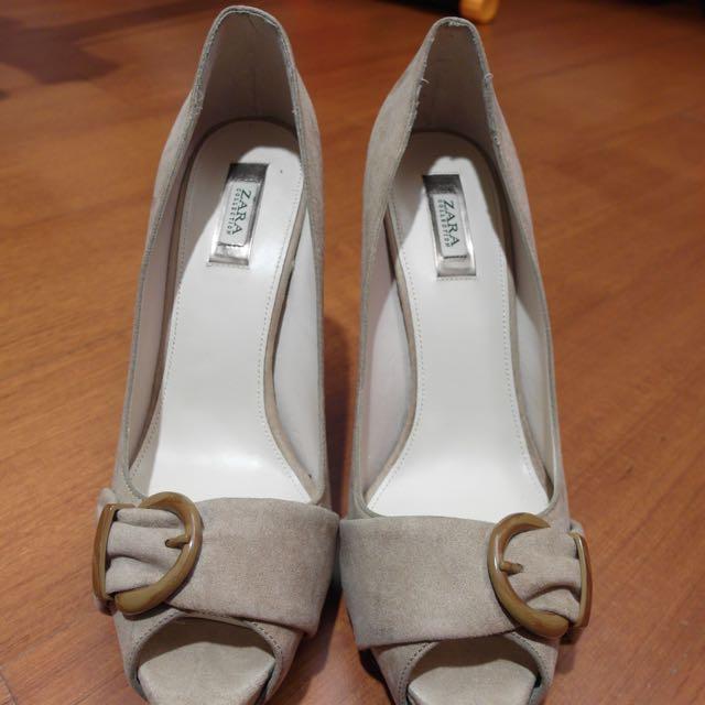 Zara 杏色駝色 露趾高跟鞋 39號