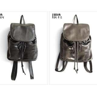 🚚 全新韓國 黑色/銀灰色 韓風後背包 好質感復古機車背包