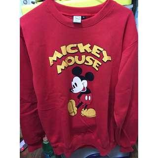 (降價)過年來件紅衣贏錢喔!Disney米奇復古大學tee 紅