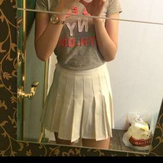 全新 白色百褶短裙L號 學生 高腰 韓系