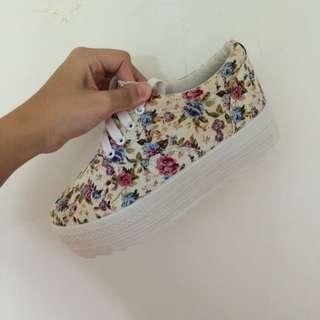 碎花增高鞋