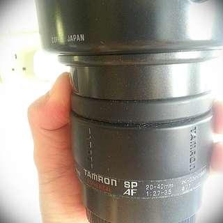 Tamron SP AF 20-40mm   1:27-3.5  Japan (Canon Fit) Comes With HOYA PL filter. With Original Hood.