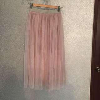 深米色紗裙 長裙 襯裙