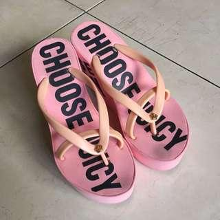 CHOOSE JUICY 厚底夾腳拖鞋(37號粉色)