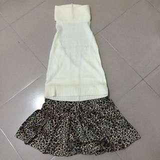 米色露背削肩上衣+豹紋短裙