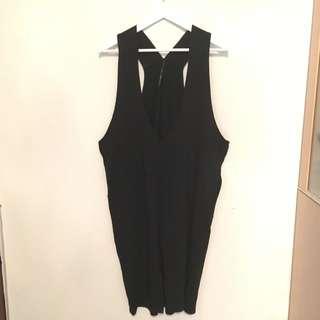 原宿風黑色長版背心洋裝