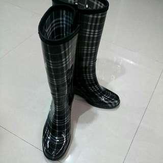 格紋中筒雨靴 L號(約38~39號)