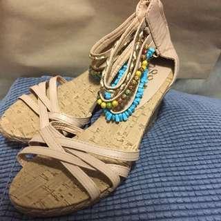 波西米亞風腳鍊楔形涼鞋38號(24.5可穿)全新