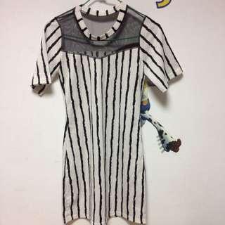 條紋 上簍空 裙