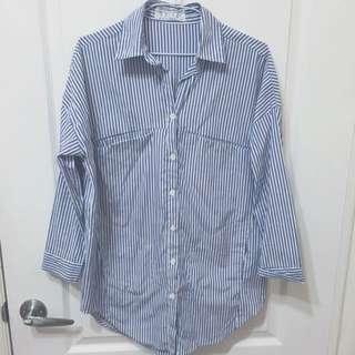 藍白細直條紋襯衫
